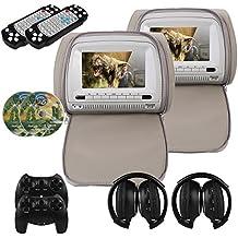 Mvpower 2X 7'' Reposacabezas para coche Reproductor de DVD Multimedia Monitor pantalla LCD con 2pcs Auriculares infrarrojosGris