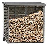 Gartenpirat Kaminholzregal mit Rückwand für ca. 2 m³ Holz in grau