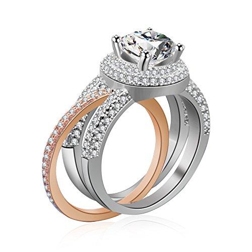 Uloveido Mode 1 Paar Silber Rose Gold Farbe Hochzeit Verlobungsring für Frauen Mädchen, 2 Stücke Zirkonia Paar Schmuck Enhancer Ring für Versprechen Jubiläum RA0218 (Weiß Gold Prinzessin Schnitt Ring Set)