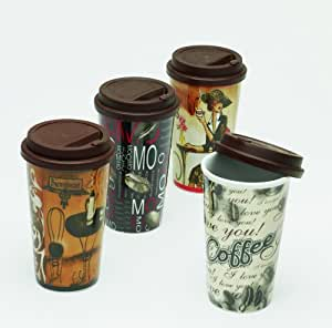 4er set kaffeebecher coffee to go mit deckel. Black Bedroom Furniture Sets. Home Design Ideas