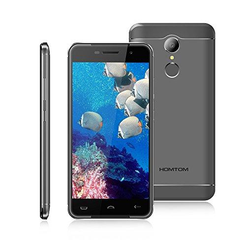 HOMTOM HT37 Pro - 4G Smartphone Ohne Vertrag G¨¹nstig, 5 Zoll Smartphone Android 7.0, Quad Core 1.3GHz, 3GB RAM+32GB ROM, 8MP+13MP Kamera, Doppelte Lautsprecher Atmungslicht Fingerabdruck - Grau ¡