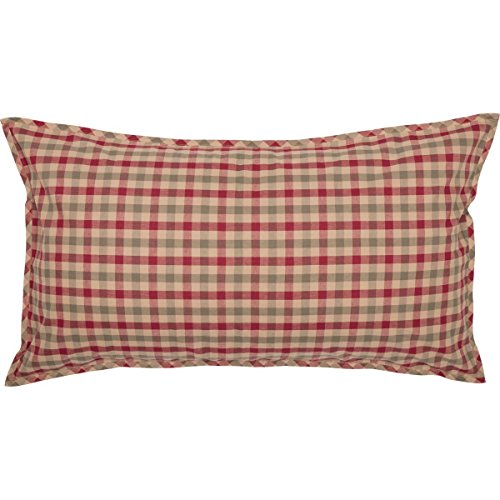 VHC Brands Saisonale Bettwäsche Jonathan Plaid Tan Sham, King Size, Hellbraun - Tan King