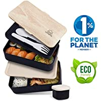 Umami® ⭐ Lunch Box Noir Bambou   Boîte Bento Japonaise Premium avec 3 Couverts Solides Et 1 Pot À Sauce   1200ml   Hermétique   Passe Au Micro-Ondes Et Au Lave-Vaisselle   sans BPA   Marque Déposée