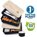 Umami  Brotdose Schwarz Bamboo | Lunchbox Mit 2 Luftdichten Fächern Inklusive 3-Teiligem, Robusten Besteck & Salatsoßen-Dose | BPA-Frei | Für Erwachsene & Kinder | Spülmaschinen- & Mikrowellenfest
