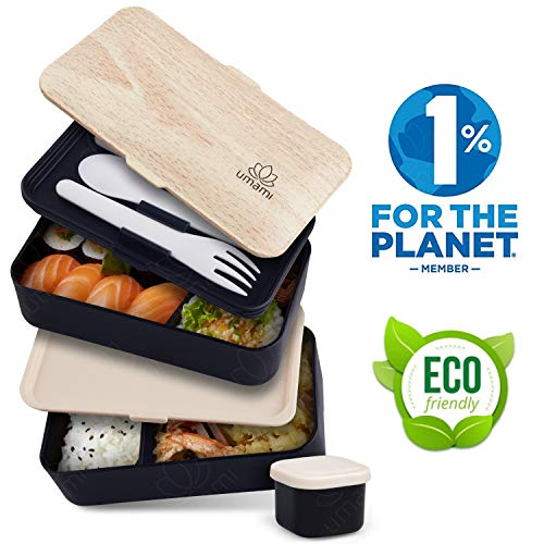 Umami® ⭐ lunch box nero bambù | porta pranzo ermetico 2 scomparti e 3 coperchi con posate e porta condimento | per microonde e lavastoviglie | contenitori alimentari bento box portatile | no bpa