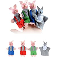 Spritumn Finger Puppets, Baby Story Time Props, 4 pcs Hand Puppets Set Animal Style Soft Three Little Pigs And Wolf Dolls Props Educational Toys for Baby Toddlers Hand Puppets Christmas Gifts