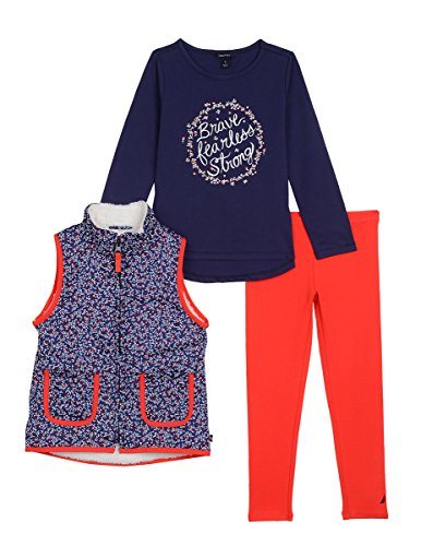Nautica Toddler Girls Sherpa Lined Vest, Knit Top & Jegging, Medium Navy, 2T Knit Sherpa Boot