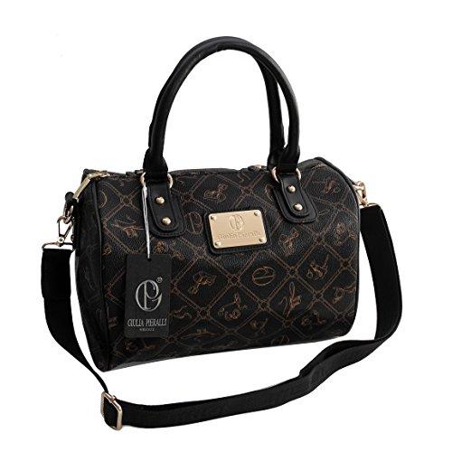 Giulia Pieralli Damen Glamour Handtasche Damentasche Tasche Henkeltasche Bowling Tasche-präsentiert von ZMOKA® in versch. Farben (Schwarz)