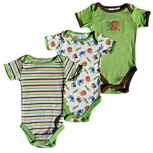 C M Lassen 3x Baby Body USA Marke Kidgets Unisex Kurzarm Babybody Unterhemd für Kleinkinder 0-3, 3-6 und 6-9 Monate in verschiedenen Farben (3-6 Monate, King of Jungle)