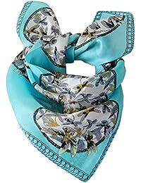 Foulard petit carré de soie 50 x 50 cm - Bleu turquoise -