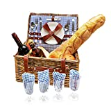 Festival Depot Wicker Picnic Basket Set 4 Person Picnic Basket Hamper Set with Flatware, Plates and Wine Glasses Includes Blue Checked Pattern Lining