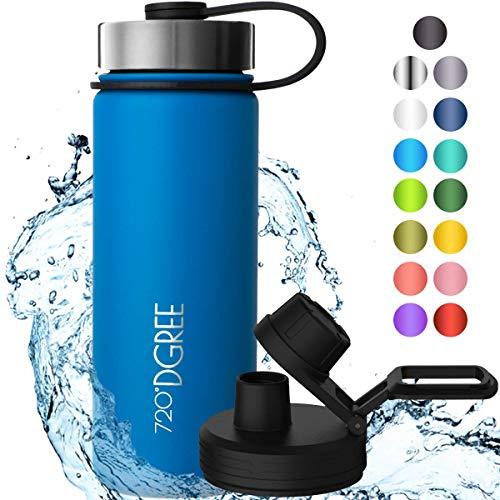"""720°DGREE Edelstahl Trinkflasche \""""noLimit\"""" - 530ml - Auslaufsicher, Kohlensäure geeignet, BPA-Frei - Isolierflasche mit Schraubverschluss für Kinder, Schule, Fitness +Gratis Sportdeckel"""