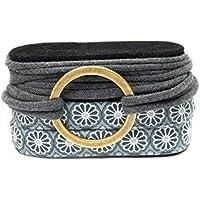Wickelarmband Stoff - Handmade - Endlosarmband in grau und anthrazit mit bronzefarbenem Ring - Geschenk