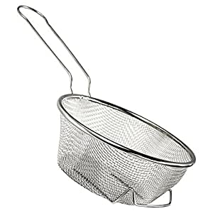 "Deep Fry Stainless Steel Mesh Basket - 7"" Diameter"