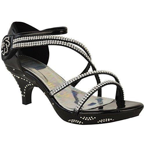 Damen Sandalette mit Strass - Hochzeitsschuhe mit kleinem Absatz & Riemen - Schwarz Lackleder / Strass - EUR 39 Kitten-sandalen