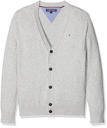 Tommy Hilfiger Jungen Strickjacke Ame Basic VN Cardigan, Grau (Light Grey Htr 061), 110 (Herstellergröße: 5)
