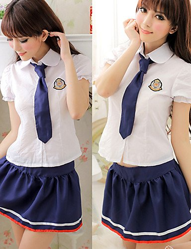 ZT Innocent Girl Top Bianco Blu Inchiostro poliestere gonna scuola uniforme