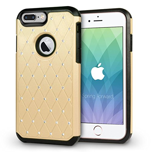 iPhone 8 Plus Hülle, Orzly® Duo-Armour Shimmer Hülle für das iPhone 8 Plus / iPhone 7 Plus - Strassbesetzte zweiteilige Schutzhülle / Handyhülle / Case / Cover für das iPhone 8 Plus / iPhone 7 Plus (5 GOLD Shimmer DuoArmour für iPhone 7 PLUS