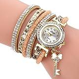 Uhren Damen, HUIHUI Geflochten Armbanduhren Günstige Uhren Wasserdicht Beliebte Casual Analoge Quarz Uhr Luxus Armband Coole Uhren Lederarmband Mädchen Frau Uhr (Gold)