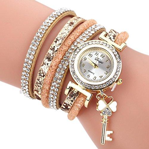 HUIHUI Uhren Damen, Geflochten Armbanduhren Günstige Uhren Wasserdicht Casual Analoge Quarz Uhr Luxus Armband Coole Uhren Lederarmband Mädchen Frau Uhr (Gold)