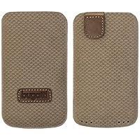 Original Bugatti Perfect Scale ( Größe XL ) Reed Braun Echtleder Vertical Tasche Hülle mit Easyreleasetechnik Bulk-Pack geeignet für Apple iPhone SE