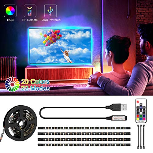 LED TV Hintergrundbeleuchtung, SRUIK 2M USB LED Stripe RGB LED Fernseher Beleuchtung mit 17-Key Fernbedienung für 32-60 Zoll HDTV, TV-Bildschirm, PC, Spiegel und Innendekoration usw
