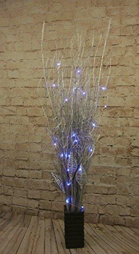 Silver Willow paquetes 95cm de altura libre 20cm jarrón cuadrado madera con 20ledes, funciona con pilas luces Ideal para cualquier habitación incluye todo el año sin pilas siempre
