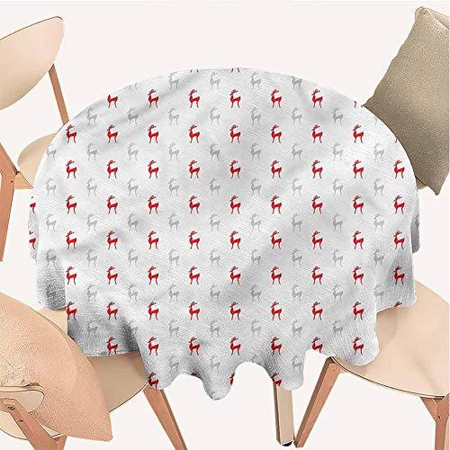 Petpany Tischdecke mit Karomuster, rund, dekoratives Muster, staubdicht, für Küche, Essen, Tischdekoration, Rot, Vinyl, Color11, D39 inchs
