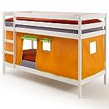 IDIMEX Etagenbett Hochbett, weiß, inklusive Vorhang in orange/grün