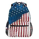 Oarencol Vintage-Rucksack mit amerikanischer Flagge und Stern, für Damen/Herren/Mädchen/Jungen
