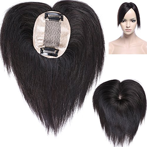 Topper extension capelli veri clip volumizzante hairpiece remy human hair topper silk mono top 6cm x 9cm parrucca per calvizia perdita di capelli