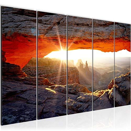 Bilder Grand Canyon Landschaft Wandbild 150 x 60 cm Vlies - Leinwand Bild XXL Format Wandbilder Wohnzimmer Wohnung Deko Kunstdrucke Rot 5 Teilig - MADE IN GERMANY - Fertig zum Aufhängen 603756a