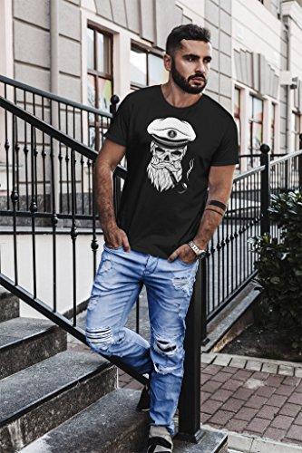 Neverless Herren T-Shirt Totenkopf Kapitän Captain Skull Bard Hipster Original Spirit Seemann Slim Fit Schwarz