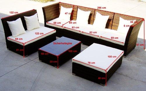 Baidani Gartenmöbel-Sets 10d00004.00001 Designer Lounge-Garnitur Thunder, 4-er Sofa, 2er Sofa, 1 Hocker, Couch-Tisch mit Glasplatte, schwarz - 5