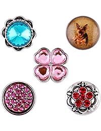 Morella señorías small Click-Button Set 5 pcs botones 12 mm diámetro perro amuleto con cuatro hojas del trébol