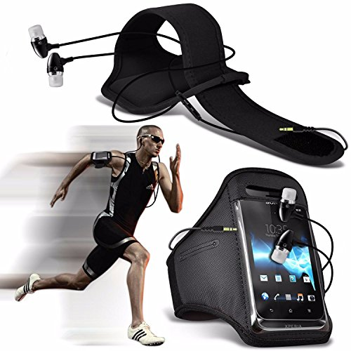 Huawei Honor 6X (2016) - Sports Running Jogging Ridding Bike Cycling Gym Arm Band Case Pouch Cover & Premium Quality Aluminium In Ear Earbud Stereo Hands Free Headphones Earphone Headset with Built in Black