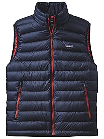 Patagonia Men's Down Sweater Vest, Navy Blue/Ramble Red, Small