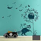Pared Adhesivo mapache con pajarito, Diente, mariposas, plumas y lunares m1921, gris oscuro, L - 136cm breit x 140cm hoch