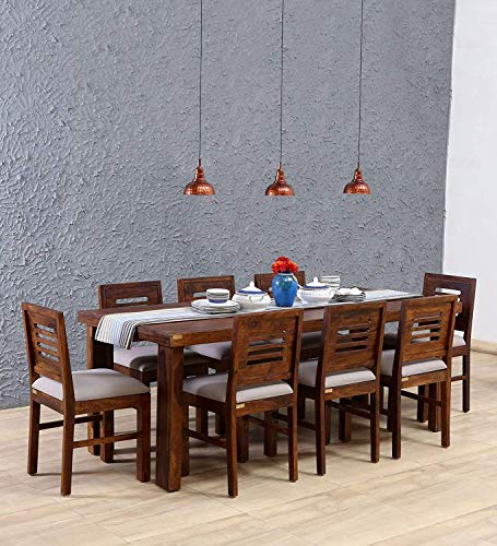 Furniture World Sheesham Wood Dining Table Set with 8 Chairs | Home and Living Room Furniture | Provincial Teak Finish