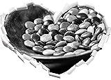 Monocrome, Schokolade Smarties Schoko Süßigkeiten Herz im 3D-Look, Wand- oder Türaufkleber Format: 92x64,5cm, Wandsticker, Wandtattoo, Wanddekoration