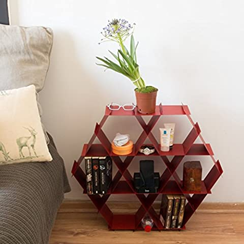 Bedside Table, Nightstand, Red Night Stand, Geometric Bed Side Table, Bedroom Storage Organization