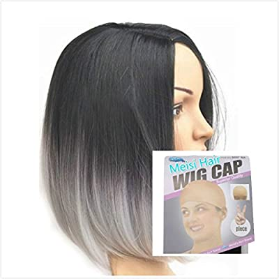 Meisi Hair Black to Gray Ombre Wig, Fashion Heat Resistant Full Head Bob Style Fun Wig(Bob Hair Style) by Meisi Hair