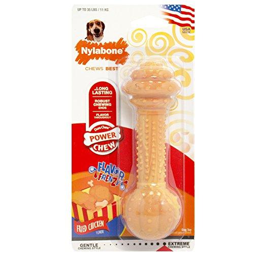 Nylabone 983409 Dura Power Chew, Flavour Frenzy, Hantelform, Brathähnchengeschmack, für mittelgroße Hunde (bis 16 kg), M - Knochen Hund Mittelgroße Hunde Für