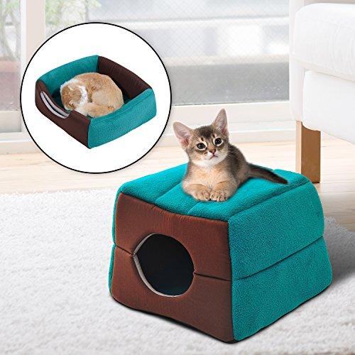 Cama Cojin 2 en 1 Caseta para Gatos Camas Mascotas 41x41x32cm Suave 2