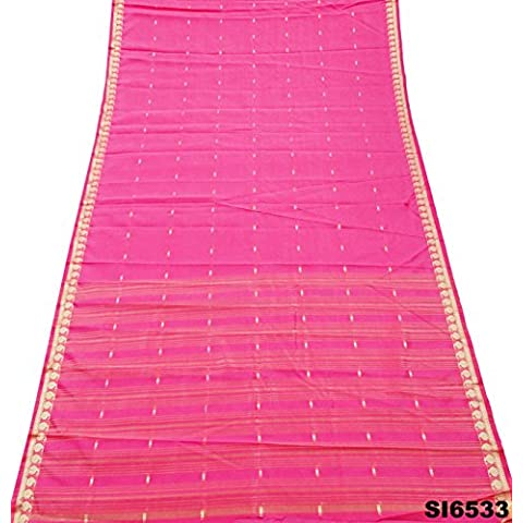 Sari Indio De La Vendimia Mezcla De Seda Tejida A Mano De La Tela Tradicional De Las Mujeres De Color Rosa Desgaste Sari 5 Silla