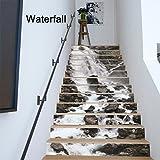 LUSTAR 13 Teile/Satz 3D Selbstklebende Wasserfall Treppenwandaufkleber Kreative Dekorative Decals DIY Kunst Removable Treppen PVC Wasserdichte Tapete Für Wohnzimmer Dekoration