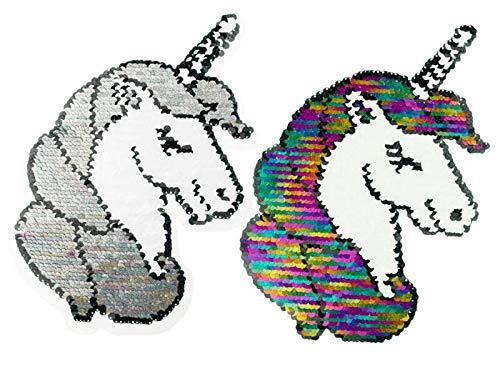 Zierstoff Pailletten, Wendepailletten, Applikation Aufnäher Einhorn Regenbogen Glitter
