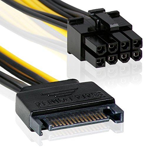 15-Pin auf 8 Pin | 20cm |Netzteil-Adapter-Kabel 15-polig SATA-Anschluss auf 8-polig | ATX12V | P8-Stecker schwarz / Gelb - MOVOJA