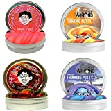 Crazy Aaron's Silly Magical Thinking Putty 2-Inch 0.47-Ounce Tins Creative Set Assortment For Children - 4 Types (Neon Flash