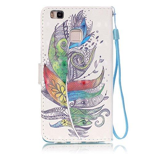 Toyym, Custodia a portafoglio, in similpelle, compatibile con Apple iPhone SE/5S/5, motivo colorato in 3D, con chiusura magnetica, con tasche per carte di credito, con tappino anti-polvere a forma di  Colorful Feather